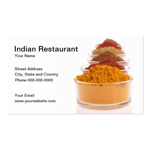 Tarjeta de visita india de restaurante