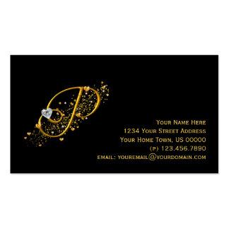 Tarjeta de visita inicial del oro y de los diamant