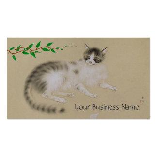 Tarjeta de visita japonesa del gato del vintage
