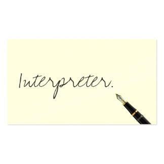 Tarjeta de visita libre del intérprete de la escri