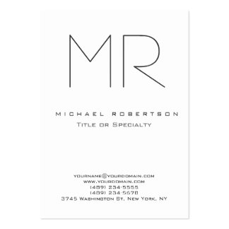 Tarjeta de visita limpia blanca del monograma mode