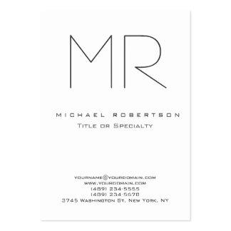 Tarjeta de visita limpia blanca del monograma