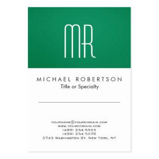 Tarjeta de visita limpia blanca del verde moderno