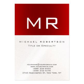 Tarjeta de visita limpia rayada roja del monograma