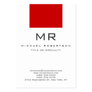 Tarjeta de visita limpia roja blanca del monograma