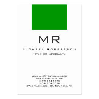 Tarjeta de visita limpia verde blanca del