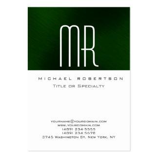 Tarjeta de visita limpia verde blanca del monogram