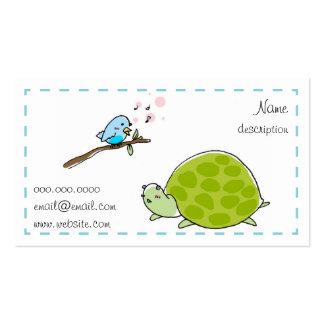 tarjeta de visita linda de la tortuga y del pájaro