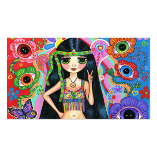 Tarjeta de visita linda del chica del Hippie del s