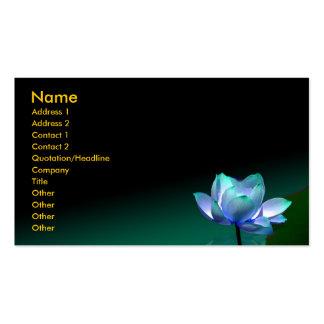 Tarjeta de visita, loto azul y Buda