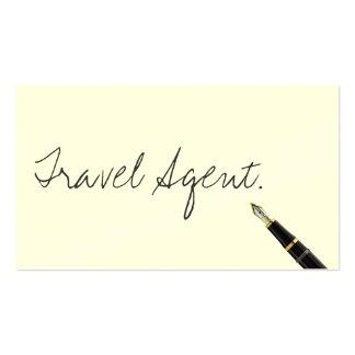 Tarjeta de visita manuscrita del agente de viajes