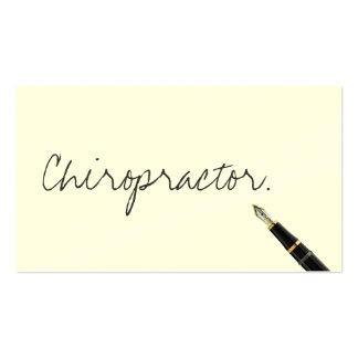 Tarjeta de visita manuscrita del Chiropractor