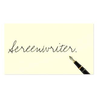 Tarjeta de visita manuscrita del guionista