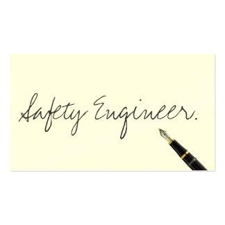 Tarjeta de visita manuscrita del ingeniero de segu