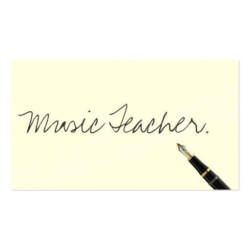 Tarjeta de visita manuscrita del profesor de músic