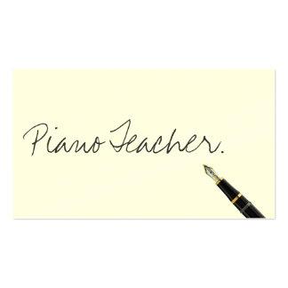 Tarjeta de visita manuscrita del profesor de piano