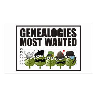 Tarjeta de visita más deseada de las genealogías
