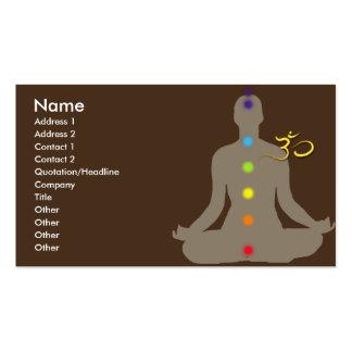 Tarjeta de visita, meditación y símbolo de OM
