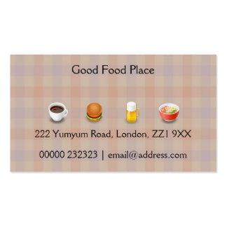 Tarjeta de visita modelada de la comida