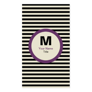 Tarjeta de visita moderna del monograma de la raya