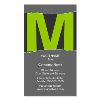 Tarjeta de visita moderna del monograma - verde/gr