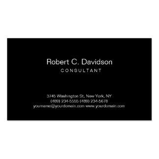 Tarjeta de visita moderna negra llana del consulto