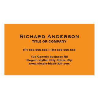 Tarjeta de visita negra anaranjada simple moderna
