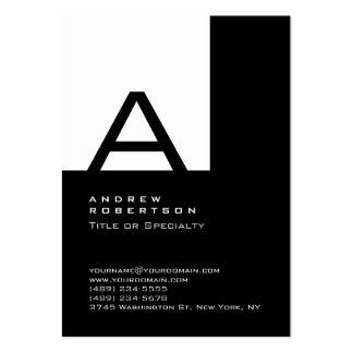 Tarjeta de visita negra blanca de moda de la raya