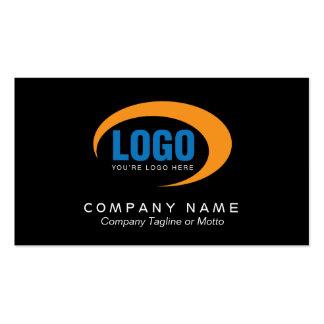 Tarjeta de visita negra clásica con el logotipo