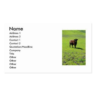Tarjeta de visita negra de la vaca