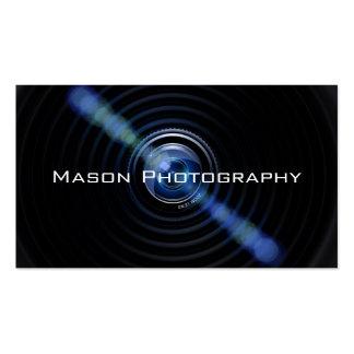 Tarjeta de visita negra del fotógrafo de la lente