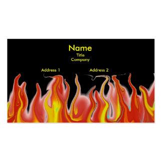 Tarjeta de visita negra del fuego