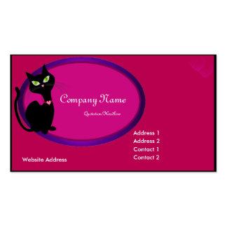 Tarjeta de visita negra del gato del gatito