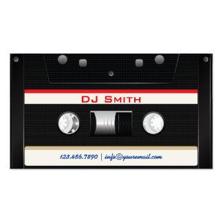Tarjeta de visita negra fresca de DJ de la cinta d