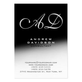 Tarjeta de visita negra gris blanca del monograma