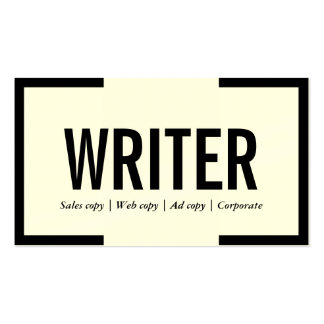 Tarjeta de visita negra intrépida del escritor/del