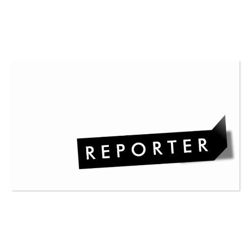 Tarjeta de visita negra moderna del reportero de l