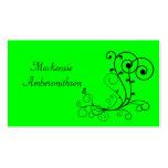 Tarjeta de visita negra verde clara del remolino