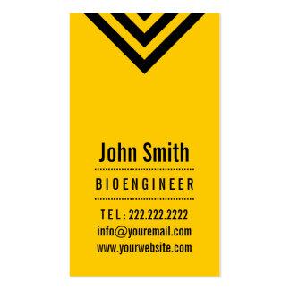 Tarjeta de visita negra y amarilla moderna del Bio