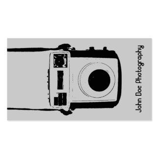 Tarjeta de visita negra y gris de la cámara del vi