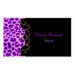 Tarjeta de visita negra y púrpura elegante de la i