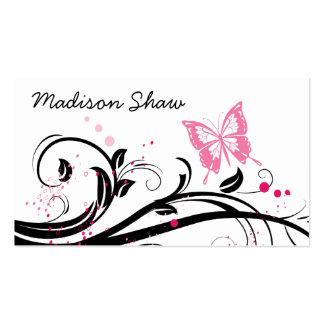 tarjeta de visita negra y rosada de la mariposa