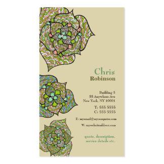 Tarjeta de visita neutral floral del ambiente verd