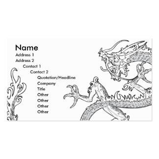 tarjeta de visita oriental blanco y negro del drag