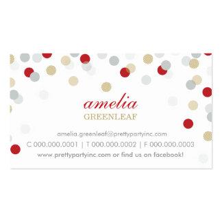 TARJETA DE VISITA:: oro de plata rojo del confeti  Tarjetas De Visita