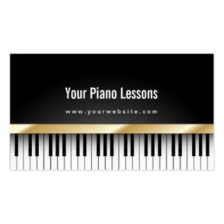 Tarjeta de visita oscura de las lecciones de piano