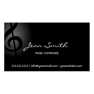 Tarjeta de visita oscura del compositor de la músi