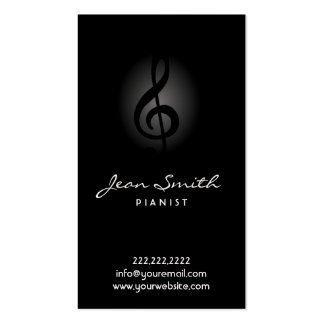 Tarjeta de visita oscura elegante del pianista