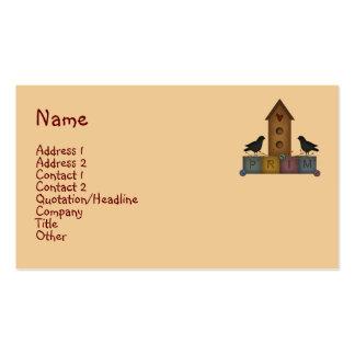 Tarjeta de visita primitiva del Birdhouse