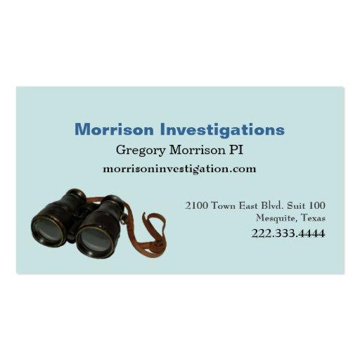 Tarjeta de visita privada de la investigación del